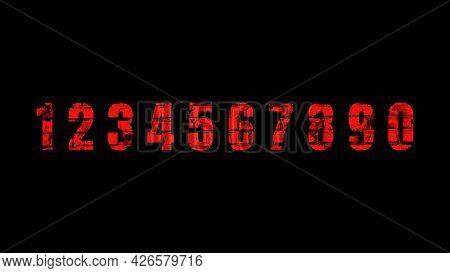 Illustration Of Red Numbers From 0 To 9 With Brick Texture On A Black Background.