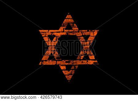 Illustration Of The Star Of David With Brick Texture On A Black Background.