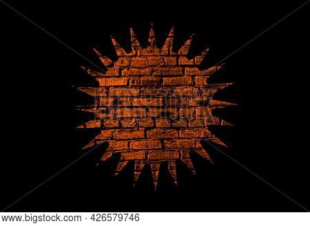 Illustration Of The Sun Symbol With Brick Texture On A Black Background.