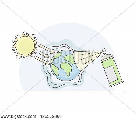 Earth Warming Or Global Warming Effect On Planet With Burning Sun Line Vector Illustration