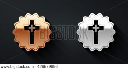 Gold And Silver Christian Cross Icon Isolated On Black Background. Church Cross. Long Shadow Style.