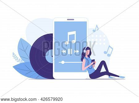 Music Listening Concept. Colored Flat Vector Illustration. Isolated On White Background.