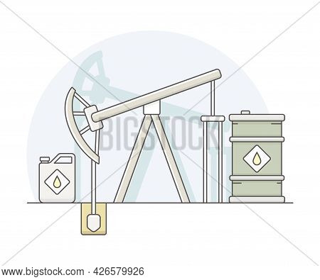 World Resource With Petroleum And Oil Extraction From The Ground Line Vector Illustration