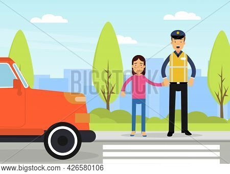 Man Road Policeman As Highway Patrol Engaged In Overseeing And Enforcing Traffic Safety On Roads Vec
