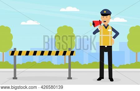 Man Road Policeman In Yellow Waistcoat As Highway Patrol Engaged In Overseeing And Enforcing Traffic