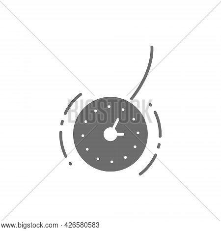 Vector Clock For Hypnosis, Pendulum Grey Icon.