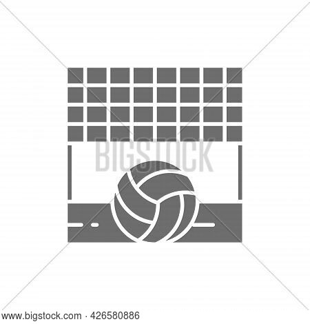 Volleyball Net With Ball, Sand Beach Grey Icon.