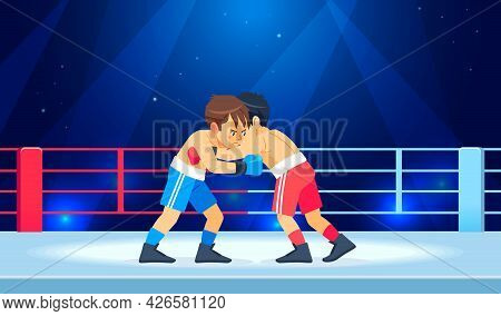 Young Guys Muscular Boxers In Boxing Gloves Stand In A Clinch In The Ring. Cartoon Characters Boy Ve