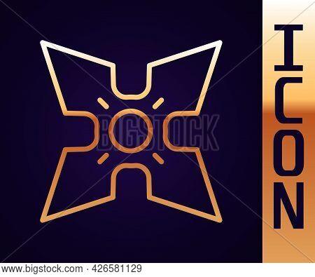 Gold Line Japanese Ninja Shuriken Icon Isolated On Black Background. Vector