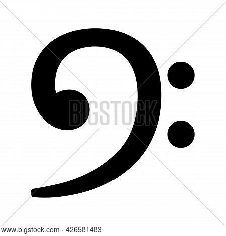 Vector Black Bass Clef Musical Notation Symbol