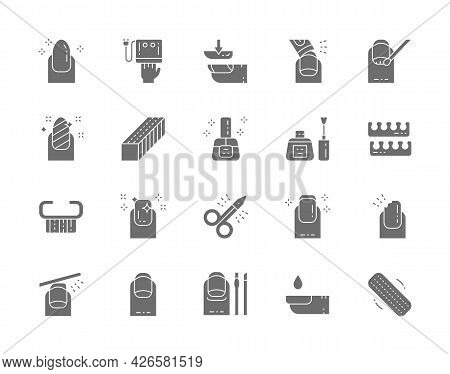 Set Of Nail Salon Gray Icons. Scissors, Extended Nails, Polish Remover And More.