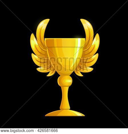 Golden Cup With Wings, Gold Award And Winner Trophy, Vector Champion Prize. Golden Cup Of Victory Or