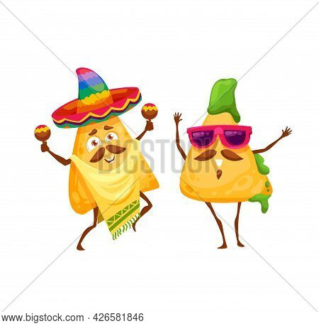 Cartoon Mexican Nachos Chips Happy Characters. Vector Mariachi In Sombrero And Poncho Playing Maraca