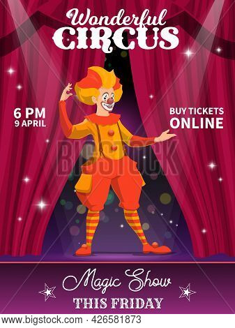 Shapito Circus Poster, Cartoon Clown Character. Vector Flyer With Jester Performing Magic Show On St