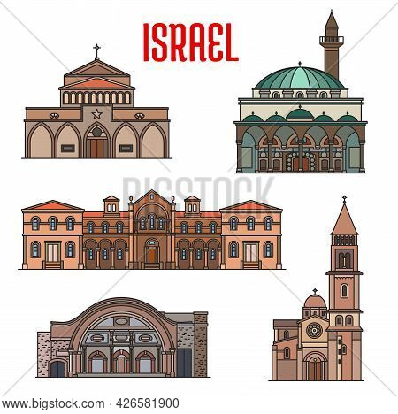 Israel Landmarks, Churches, Mosques And Temples Of Bethlehem, Vector. Israel Jewish And Islamic Land