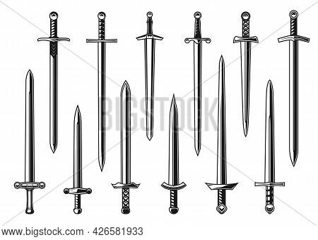 European Knight Straight Swords Vector Design With Weapon Of Medieval Army Warrior. Isolated Dagger,