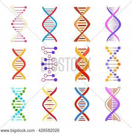 Dna Helix Icons, Genetic Medicine Vector Signs. Spiral Molecule Structure, Science And Scientific Re