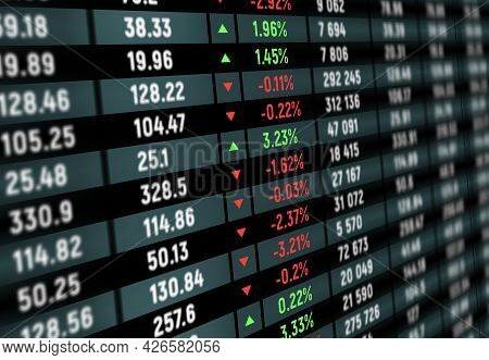 Stock Exchange Board, Market Index Graphs And Charts, Vector Background. Stock Exchange Board Prices