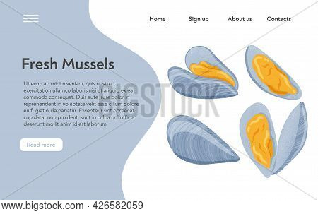 Fresh Tasty Seafood Clams, Shellfish In Seashells Vector Hand Drawn Landing Page Design With Text Sp