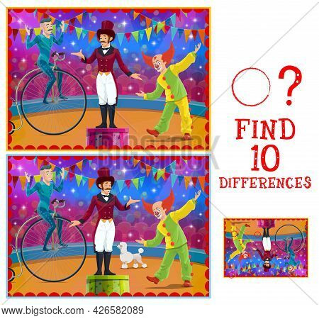 Differences Kids Game With Vector Circus Stage And Performers. Education Memory Game, Attention Test