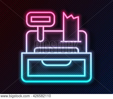 Glowing Neon Line Cash Register Machine With A Check Icon Isolated On Black Background. Cashier Sign