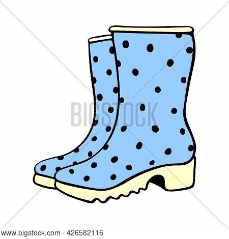Vector Outline Polka Dot Rubber Blue Rain Boots For Rainy Weather Or Gardening. Hand Drawn Element O