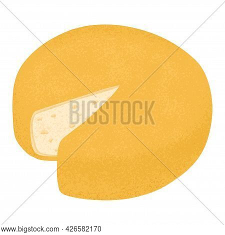 Swiss Cheese Round Wheel With Cut Piece Vector Flat Illustration. Cheddar Or Maasdam Fresh And Tasty