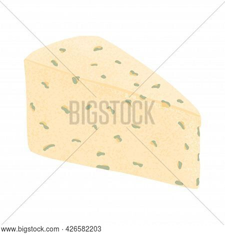 Cheese Piece Vector Flat Illustration. Brie Or Roquefortor Soft Fresh And Tasty Cheese Cut Into Tria