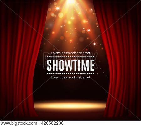 Stage With Red Curtains, Theater Scene Vector Background With Spotlight Illumination And Sparkles. S