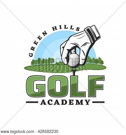 Golf Sport Academy Icon, Golfer Club Championship Of League Team Vector Emblem. Golf Club Tournament