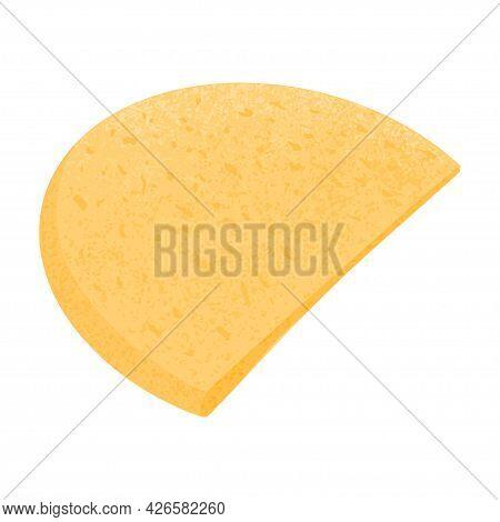 Swiss Cheese Round Wheel Cut Piece Vector Flat Illustration. Cheddar Or Maasdam Fresh And Tasty Food