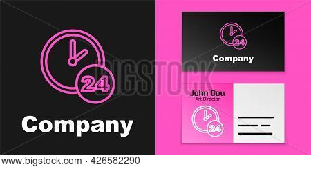 Pink Line Clock 24 Hours Icon Isolated On Black Background. All Day Cyclic Icon. 24 Hours Service Sy