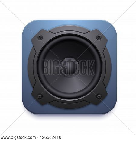 Sound Speaker Icon, Audio Music Stereo System Vector 3d Sign Isolated On White Background. Design El