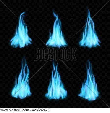 Natural Gas Burning Blue Flames, Bonfire, Realistic Fire With Long Tongues. Vector Blaze 3d Effect,