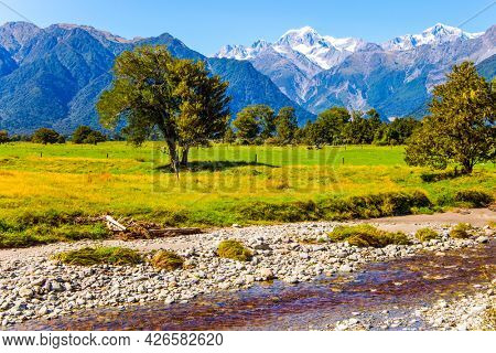 Road to Lake Matheson. Snow-capped peaks of Mount Cook and Mount Tasman. The most beautiful nature in the world. New Zealand, South Island