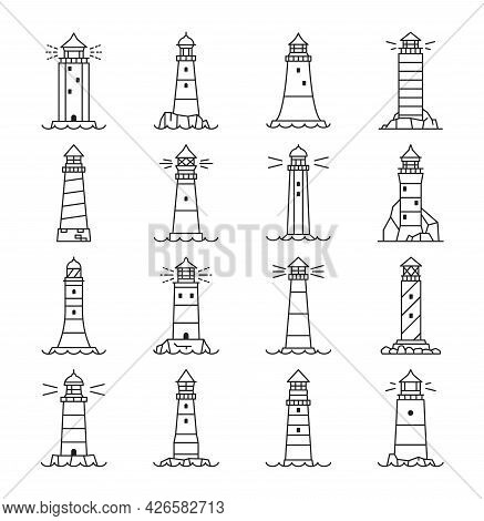 Lighthouse And Beacon Outline Icons, Vector Linear Buildings, Nautical Seafarers, Marine Safety Sail