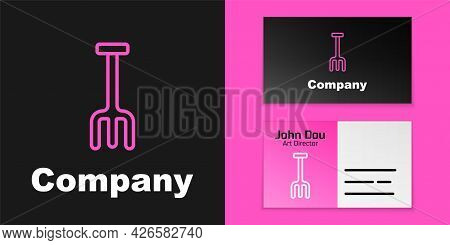 Pink Line Garden Rake Icon Isolated On Black Background. Tool For Horticulture, Agriculture, Farming