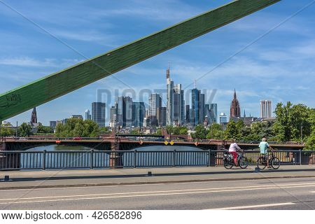 Frankfurt, Germany-may 31, 2021: View From The Flosserbrucke To The Skyline Of Frankfurt Am Main, Ge