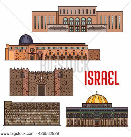 Israel Landmark Architecture, Churches And Temples Buildings, Vector Jerusalem Sightseeing Religious