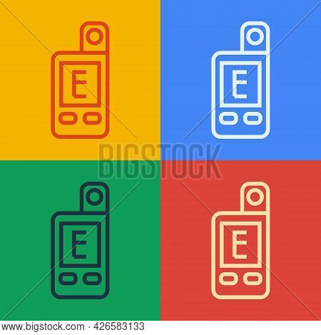 Pop Art Line Light Meter Icon Isolated On Color Background. Hand Luxmeter. Exposure Meter - A Device