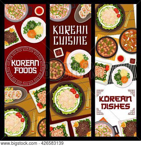Korean Cuisine Restaurant Dishes Posters. Seafood And Pork Tofu, Kimchi Soups, Vegetable Stuffed Squ