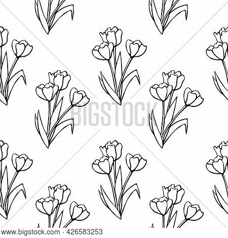 Vector Seamless Pattern With Outline Bouquet Of Three Flowers Of Tulips. Hand Drawn Doodle Spring Te