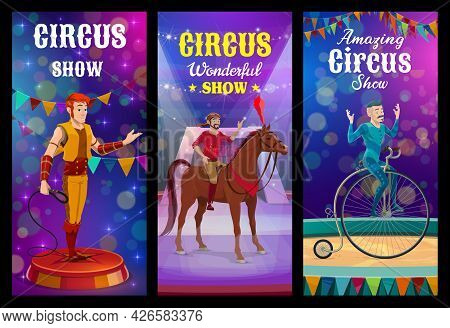 Shapito Circus Animal Trainer And Acrobat Characters. Top Circus Performance, Wild Animals Tamer, Ho