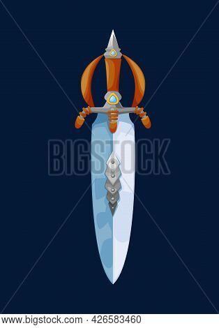 Magical Cartoon Dwarf Broadsword Blade. Vector Fairytale Short Sword, Fantasy Knife Of Magic Weapon