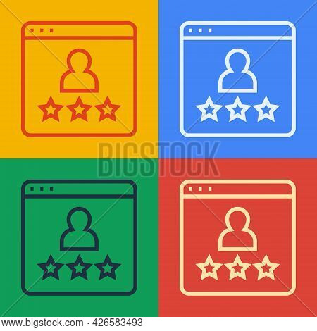 Pop Art Line Consumer Or Customer Product Rating Icon Isolated On Color Background. Vector