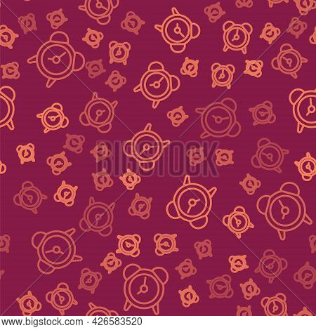 Brown Line Alarm Clock Icon Isolated Seamless Pattern On Red Background. Wake Up, Get Up Concept. Ti