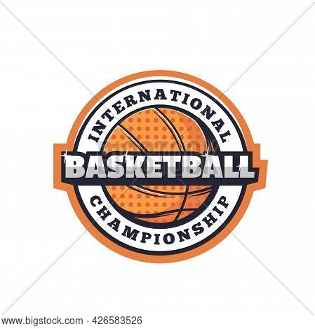 Basketball Sport Icon Of Isolated Vector Ball With Halftone Pattern. Basketball Game Team Player Ora