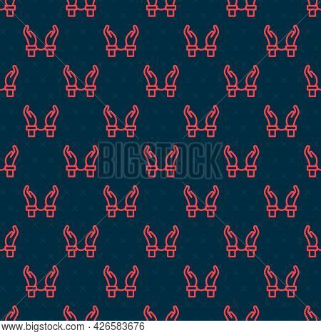 Red Line Handcuffs On Hands Of Criminal Man Icon Isolated Seamless Pattern On Black Background. Arre