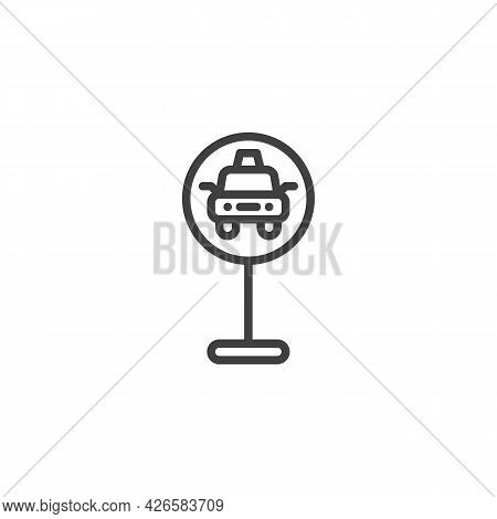 Taxi Parking Traffic Sign Line Icon. Linear Style Sign For Mobile Concept And Web Design. Taxi Parki