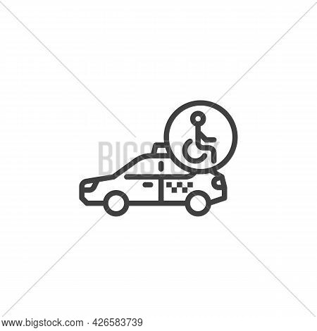 Accessible Taxi Service Line Icon. Linear Style Sign For Mobile Concept And Web Design. Wheelchair A